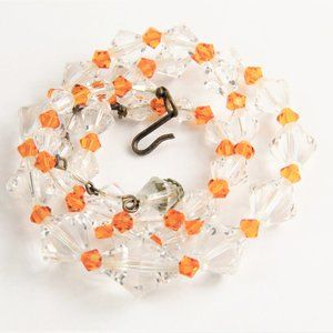 Jewelry - VINTAGE ORANGE & CLEAR GLASS BEAD NECKLACE